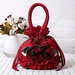 Redland Art Women's Fashion Flower Mini Clutch Bucket Bag Wristlet Evening Handbag Catching Purse Bag for Wedding Party (Color : Red)
