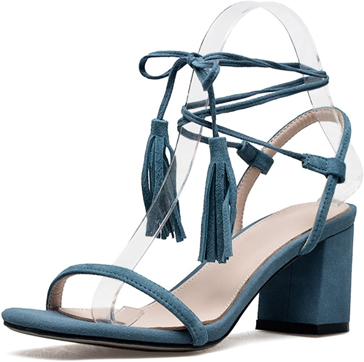 Fashion Roman Lace-up Sandals Women's Summer Leather High Heels ( color   bluee , Size   38 )