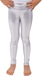 Girls Shiny Wet Look Leggings Kids Liquid Metallic Dance Footless Tights