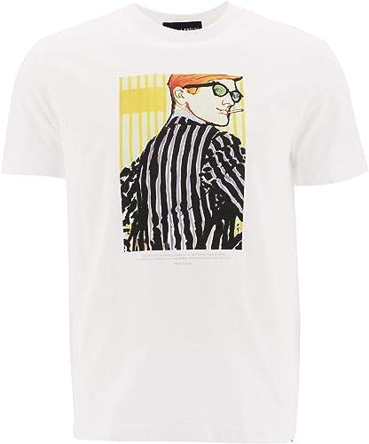 LARDINI Homme EG521805 Blanc Coton T-Shirt