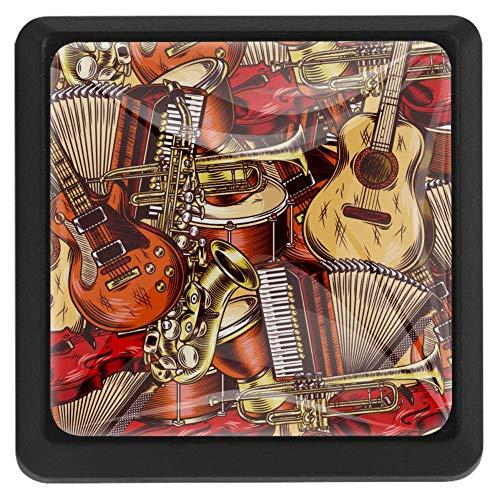 TIZORAX Schubladenknöpfe Gitarre Akkordeon Küche Schrank Griff Ziehgriffe quadratisch 3 Packungen für Schrank Kleiderschrank Kommode Tür Home Decor