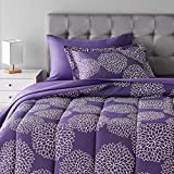 Amazon Basics 5-Piece Light-Weight Microfiber Bed-In-A-Bag Comforter Bedding Set - Twin/Twin XL, Purple Floral