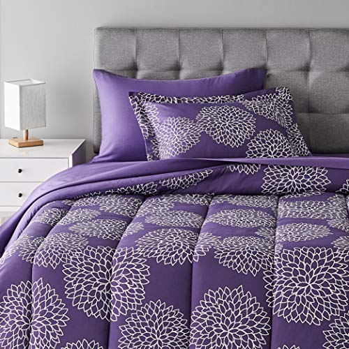 Amazon Basics 5-Piece Light-Weight Microfiber Bed-In-A-Bag Comforter Bedding Set - Twin, Purple Floral