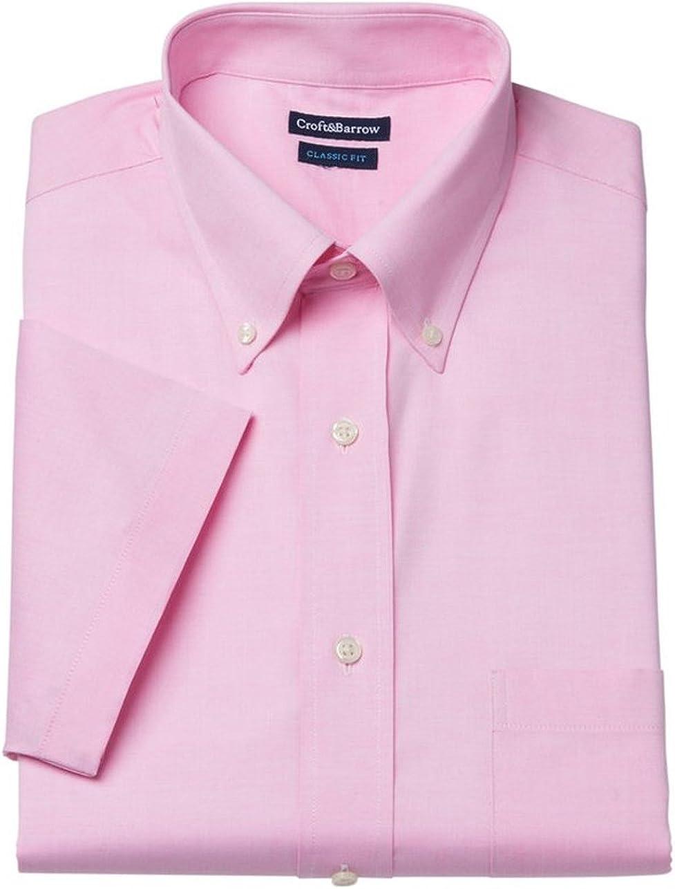 Croft & Barrow Mens Classic Fit Button Down Short Sleeve Dress Shirt Pink