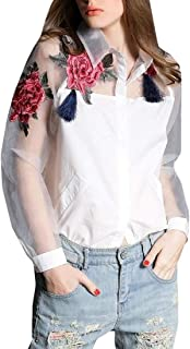 Macondoo Womens Classical Long-Sleeve Embroidery Organza Button Down Shirt