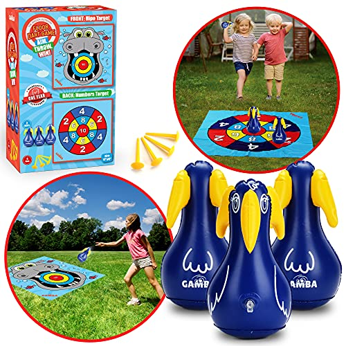 outdoor yard games Inflatable Lawn Darts Game - Outdoor Yard Games for Kids and Adults - 3 XL Lawn Darts Backyard Toy with 2 Sided Playing Mat, Great Indoor Outdoor Games for Family and Kids Ages 4-12, Yard Darts Gift