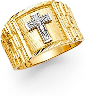 Ioka 14K Solid Yellow Gold 14MM CZ Religious Cross Mens Ring