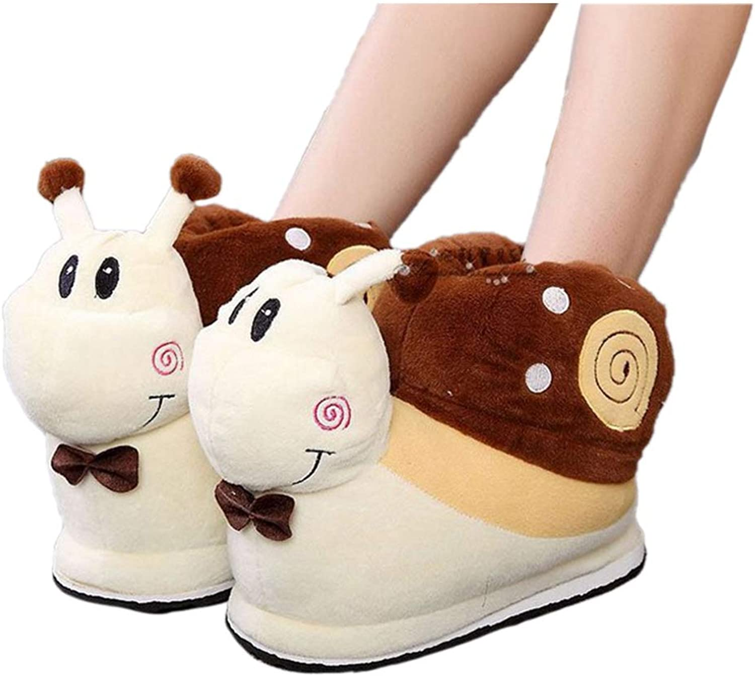 Nafanio Winter Plush Slippers Snail Cartoon Home Cotton Thermal Floor Pregnant Warm Bedroom shoes