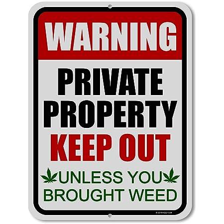 BEWARE OF STONER METAL SIGN MAN CAVE WARNING DOOR WEED CANNABIS BEDROOM GIFT