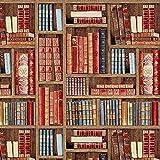 Fabulous Fabrics Gobelin Jacquard Scaffale di Libri – Marrone — Vendita al Metro da 0,5m — per Cucire Decorazione/Arredo, Cuscini e Tovaglie
