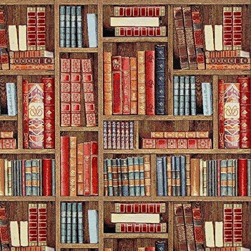 Jacquard Gobelin Bücherregal – braun — Meterware ab 0,5m — zum Nähen von Outdoor Deko, Kissen/Tagesdecken & Tischdekoration