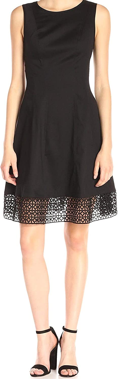 Donna Ricco Women's Sleeveless Solid Fit-and-Flare Dress with Lace On Hem