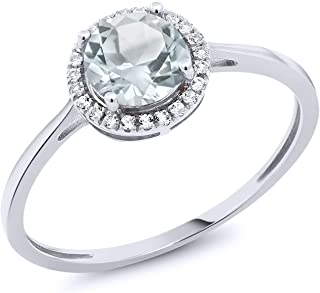 10K White Gold Sky Blue Aquamarine and Diamond Engagement Ring 0.97 cttw (Available 5,6,7,8,9)