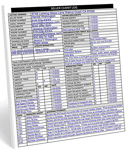 Real Estate Agent Supplies. Home Seller Client Log to include in Listing File Folders. Realtor Log to Track Seller Needs, Home Showings & Agent Activity. 50 Page Notepad. 8.5 X 11 inches.