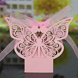 PONATIA 50 Pack Laser Cut Butterfly Wedding Favour Box with Organza Ribbon Birthday Party Candy Boxes