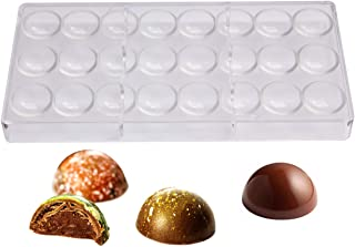 Polycarbonate Chocolate Mold by NuEmporia for Pralines, Truffles, Sweets, Candies, Bonbons. 24 pcs Semi-Sphere Shape. Food...