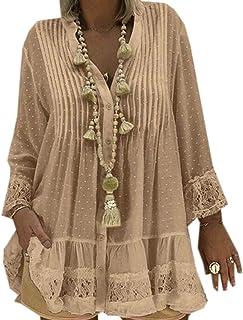 Suncolor8 Women Lace Stitching Plus Size V Neck Long Sleeve Shirt Top Blouse