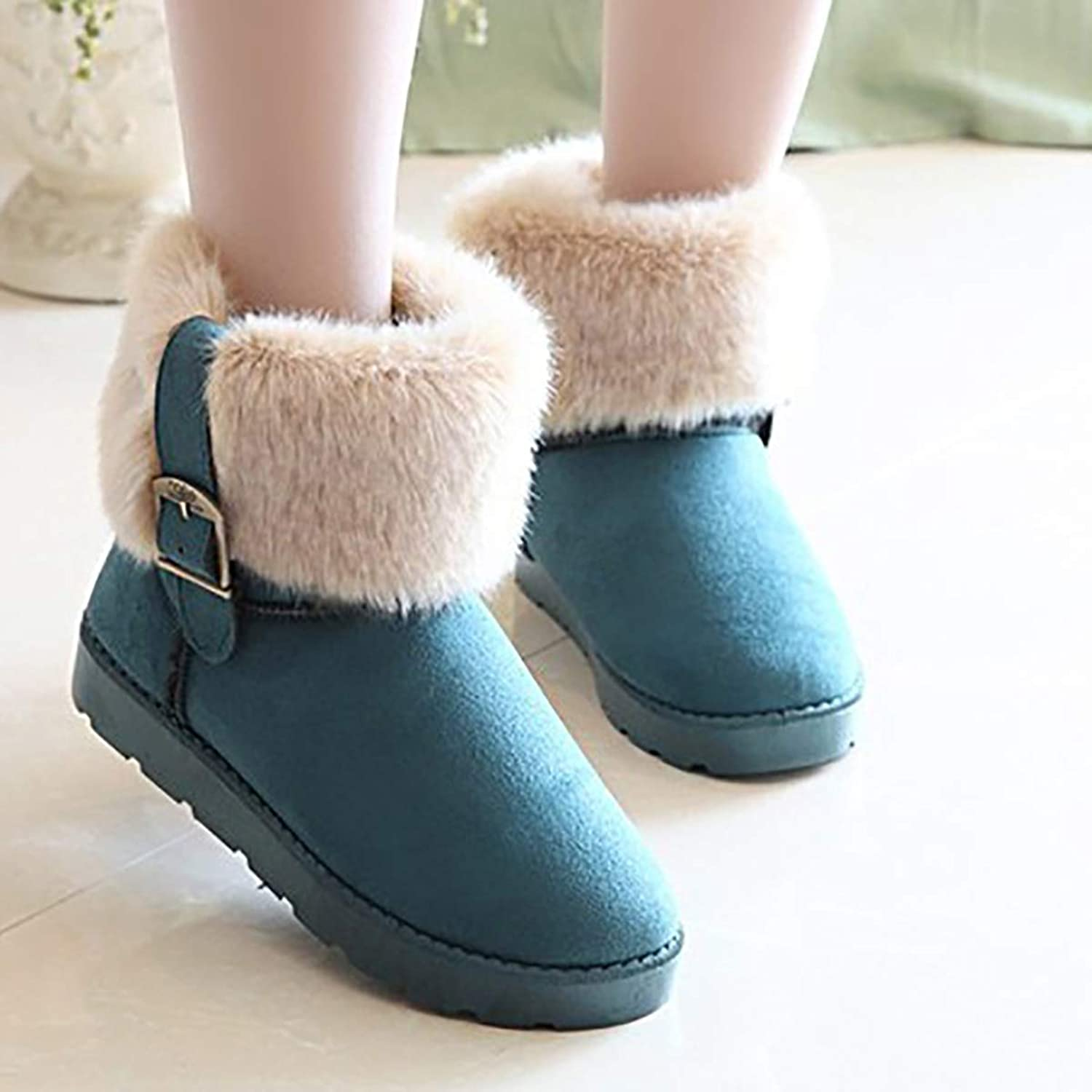 Winter Warm Women's Boots, Low to Help Thickening Plush Women's shoes,bluee,39