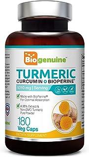 Organic Turmeric Curcumin 1310 mg 180 Vcaps with BioPerine - Powerful Anti-Inflammatory | Joint Health | Antioxidant Support | Immune Boost