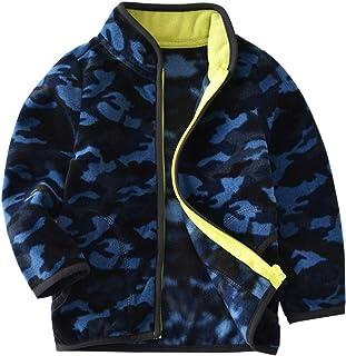 5b95090320cd8 Enfant Manteaux Polaire Veste Camouflage Blousons Tops Vêtements Bleu 3-4  Ans