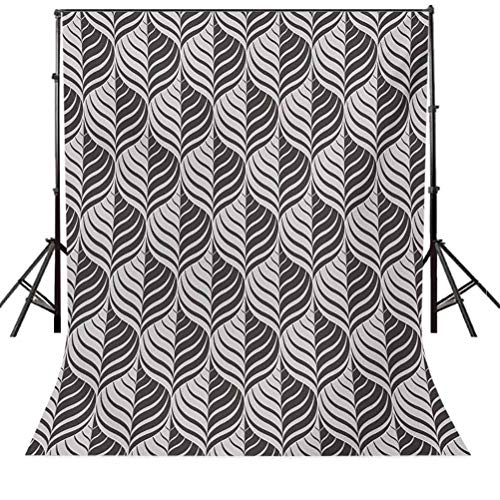 Dark Grey 4x6 FT Photography Backdrop, Monochrome Curves Pattern Abstract Leaf Design Floral Foliage Retro Look Background for Baby Shower Bridal Wedding Studio Photography Pictures Dark Taupe Beige