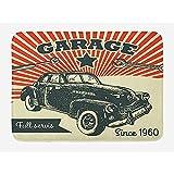 Ruan-Shop Alfombrilla de baño para automóviles, póster publicitario Retro para automóviles y Garaje Imagen de Estilo con Efectos de Grunge Felpudos de los años 60 Naranja Esmeralda