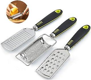 Nobrand Rallador rallador de acero inoxidable rallador queso manual rallador set apto para queso, limón, jengibre, ajo, patata (3 unidades)
