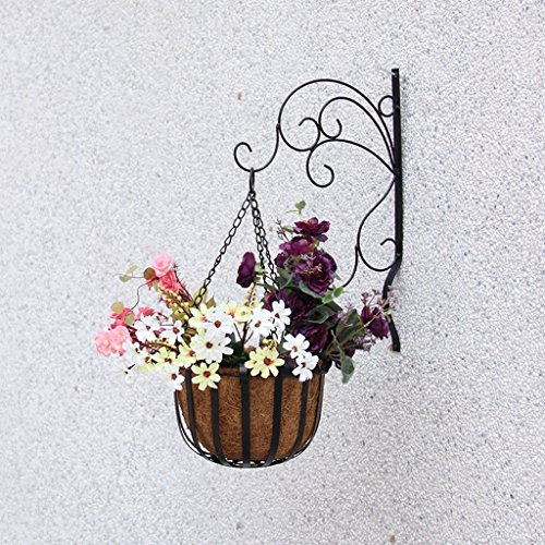 Étagères d'angle Mur de style européen salon intérieur fleur grilles, balcon extérieur Tenture murale en fer forgé fleurs, pendaison vert rayonnant pot de fleur étagère ( Couleur : Noir )