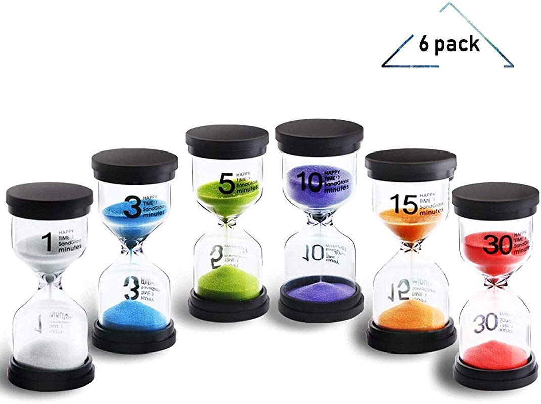 Sand Timer 6 Colors Hourglass Sandglass Sand Clock Timer 1min 3mins 5mins 10mins 15mins 30mins For Timer Clock Toothbrush Timer For Kids Games Classroom Home Office Kitchen Use