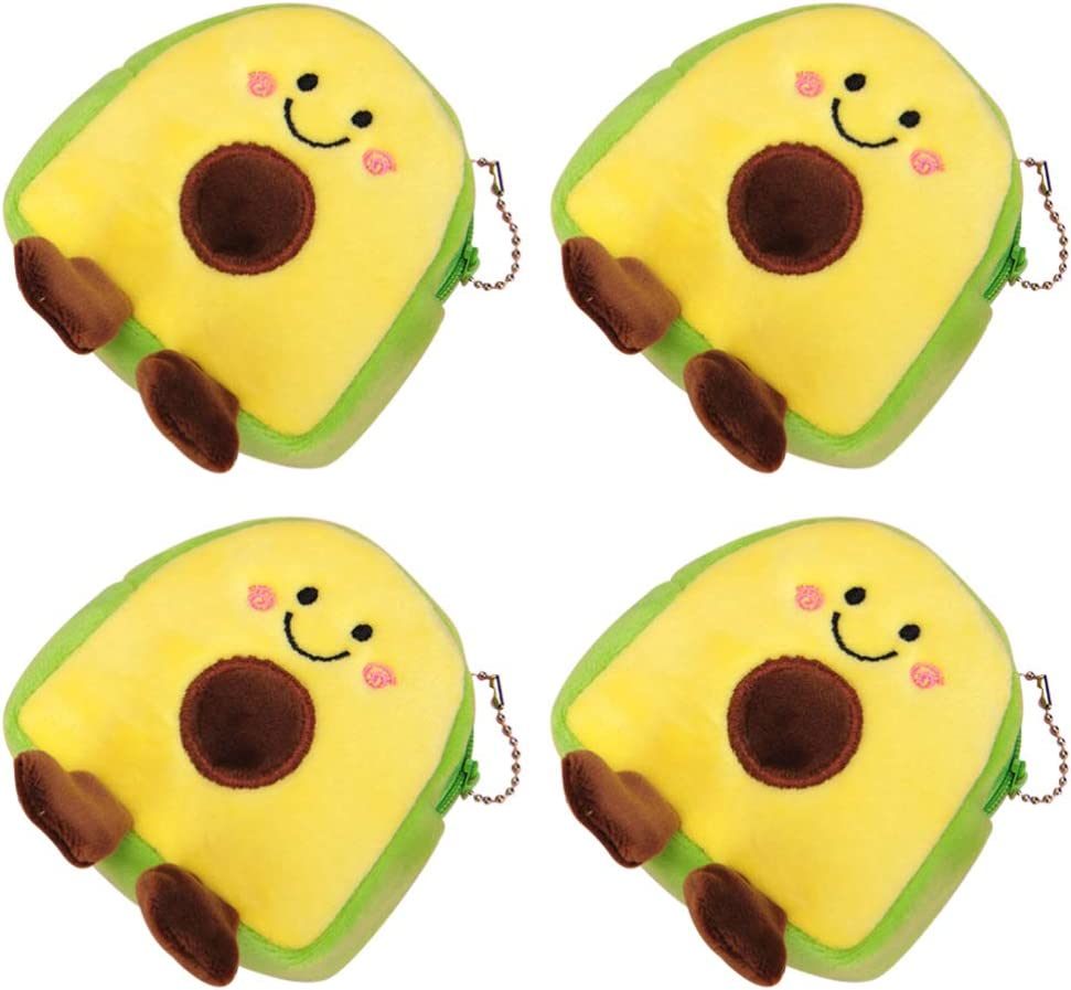NUOBESTY Avocado Plush Coin Purse, Chic Coin Pouch Creative Change Bag Keychain Wallet 4pcs