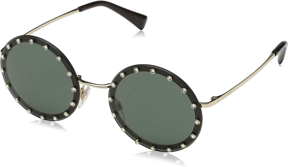 Valentino, occhiali da sole da donna, rotondi, montatura in acetato e metallo, lenti verdi VA2010B