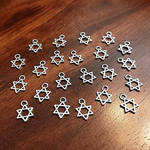 25 Little Star of David Charms Star of David Hexagram Charms 6 Point Star Hanukkah Charms Jewish Charms Star Hexagram Findings