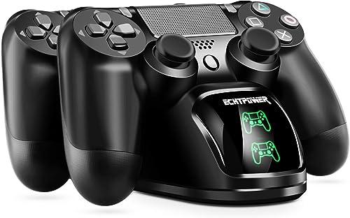 PS4 Chargeur ECHTPower Chargeur Manette PS4 Station de Charge avec Indicateur LED Charge Rapide pour Sony Playstation...