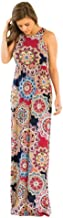 Auwer Maxi Dresses for Women,Womens Crew Neck Sleeveless Summer Floral Maxi Dress with Pockets