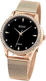 Women's Shiny Vogue Crystal Diamond Watch Rose Gold Stainless Steel Mesh Band Waterproof Wrist Watch for Ladies Fashion Girls Watches - BZ2708