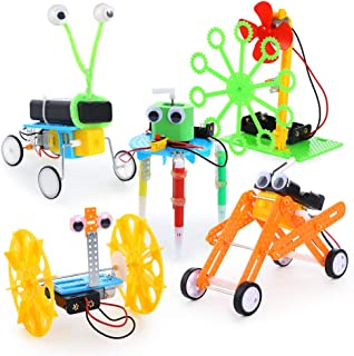 Sntieecr 5 Set Electric Motor Robotic Science Kits with Instructions, DIY STEM Toys Kids Science Assembly Kit, Building Engineering Circuit Educational Robot Kit for Kids Science Experiment Project