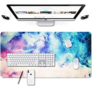Desk Size Mouse Pad Office Mousepad Large Decorative Mouse Pads X-Large Gaming Mouse Mat Rubber Base Stiched Edges XXL XXXL Gamepad for PC Laptop Computer Simple Design Marble HD Print (07Galaxy2)