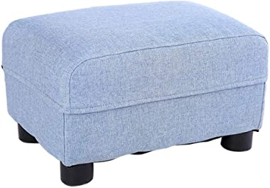 YSDHE Square Wood Support Upholstered Footstool Ottoman Pouffe Chair Stool Shoes Bench, 4 Legs Removable Linen Cover,35 * 24