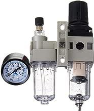 Ochoos 200x150mm 1/4'' SMC Type Air Regulator Filter Water Trap Oiler Lubricator Compressor Pressure 0.05-0.85Mpa Filter Separator