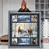 Winter Snow Chalet Horse Rime Confession Love Letter Hippie Animal Blanket Gift Farmer Loves Pet Flannel Sherpa Blanket Birthday Gift Souvenir Thick Warm (Youth 56 X 43 INCH)