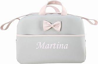 danielstore- Bolso Personalizado Bebe Carrito bebe con nombre bordado. Kona + Regalo de un babero (Gris-rosa)