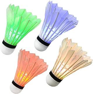 Ohuhu LED Badminton Shuttlecocks, Glow in The Dark Night Badminton Birdies Lighting Birdie for Outdoor Indoor Sports Activities, 4-Pack