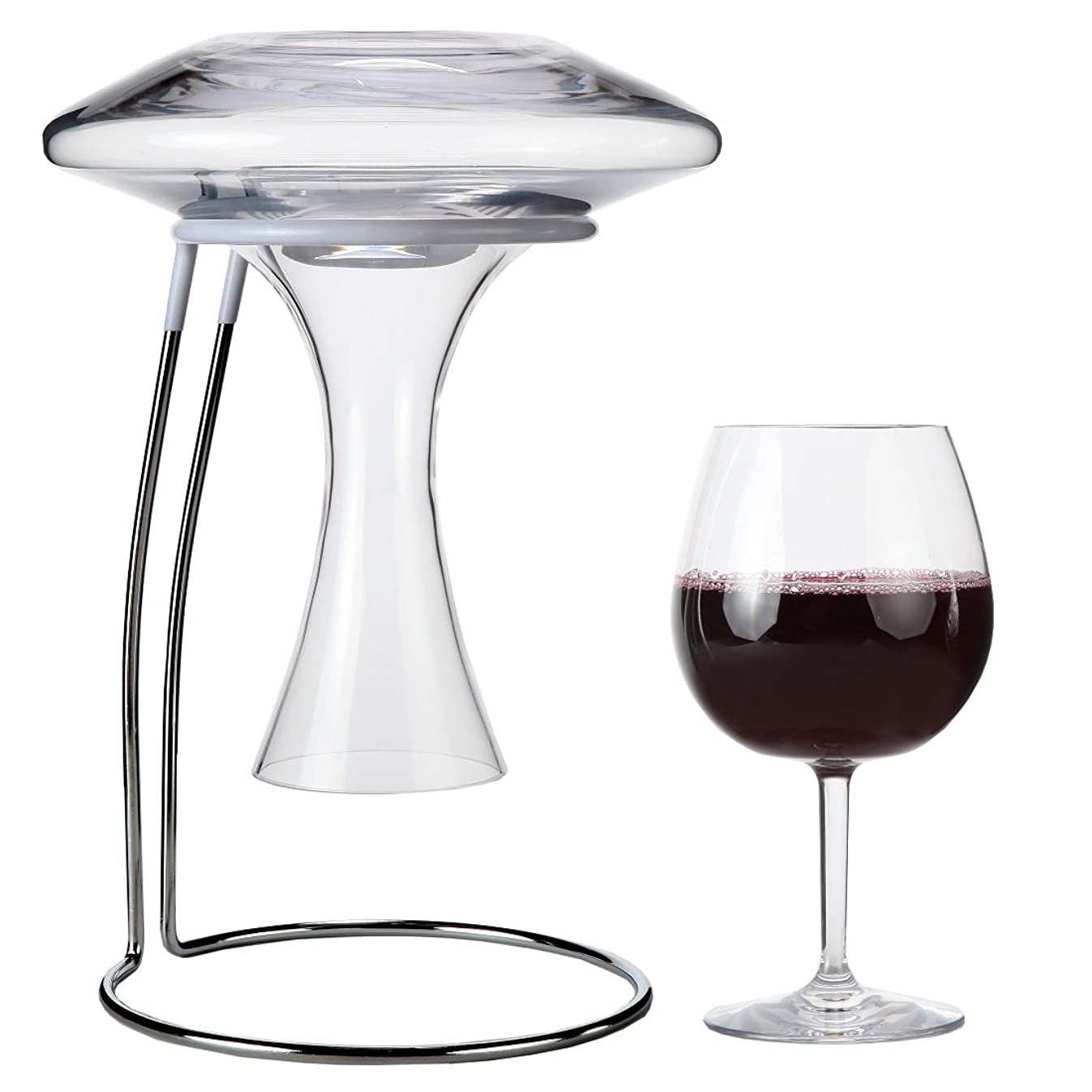 Lily's Home Wine Decanter Drying Stand with Rubber Coated Top to Prevent Scratches, Includes Cleaning Brush, For Standard Large Bottomed Wine Decanters, Decanter and Wine Glass NOT Included