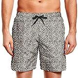 Mens Beach Shorts Leopard Cheetah Print Black...
