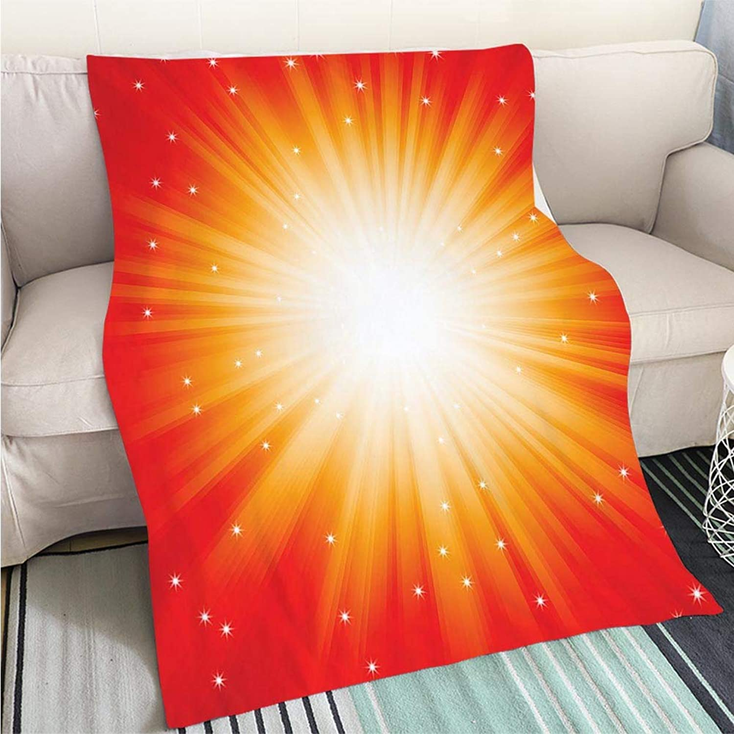 Comforter Multicolor Bed or Couch Red Burst of Light with Sparkles Perfect for Couch Sofa or Bed Cool Quilt