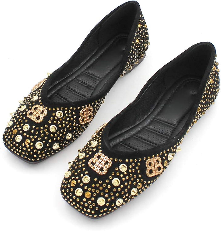 August Jim Women Flat shoes Soft Sole Square Toe Ballet shoes Rivet Retro Walking shoes