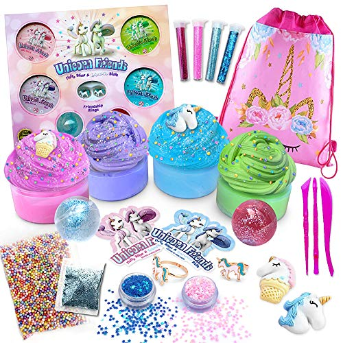 Unicorn Friends Slime Kit for Girls [Everything in One Box] Includes Unicorn Backpack and Friendship Rings