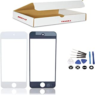 (md0410) White Front Outer Glass Lens Screen Replacement Part Compatible for iPod Touch 5 and 6 Gen Model A1421 A1509 A1574 (LCD & Digitizer Not Included) + Tools Kit