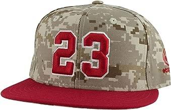 Number #23 Salute Desert Digital Camo Red Visor Snapback Hat Cap X Bulls Color