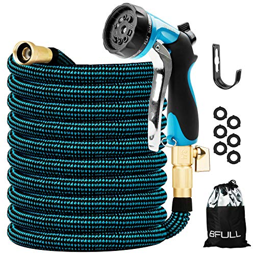 BFULL 100FT Garden Hose, Expandable Water Hose with 10-Function Spray Nozzle, Durable Strength 3750D, 4-Layer Latex, Flexible Leakproof Water Hose with Solid Brass Connector for Watering & Washing